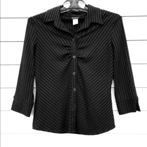 Fashion Gold Textured Black Career Blouse